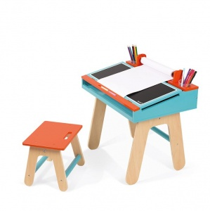 Childrens Blue and Orange Desk and Chair by Janod