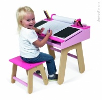 Children's Pink Desk and Chair by Janod